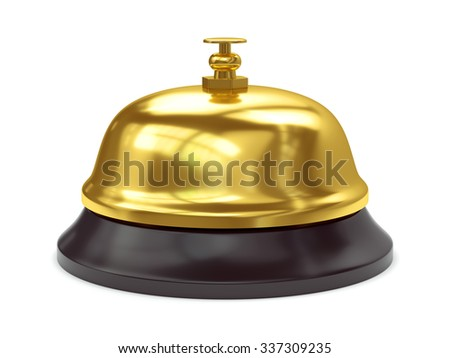Gold reception bell with button isolated on white background - stock photo
