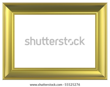 Gold rectangular frame isolated on white background. Computer generated 3D photo rendering. - stock photo
