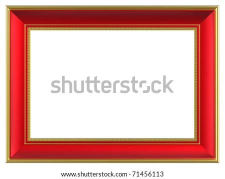 Gold-red rectangular frame isolated on white background. Computer generated 3D photo rendering. - stock photo