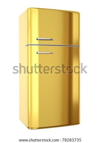 Gold refrigerator. 3D render. - stock photo