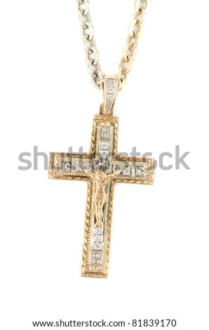 gold religious cross at chain, isolated on a white background - stock photo