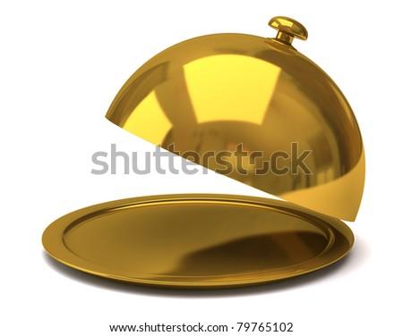Gold restaurant cloche - stock photo