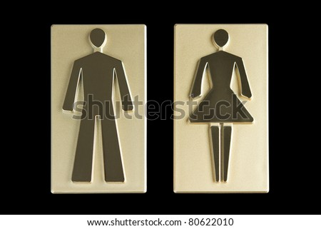 Gold restroom signs with clipping path - stock photo