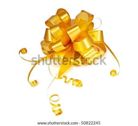 Gold ribbon bow - stock photo