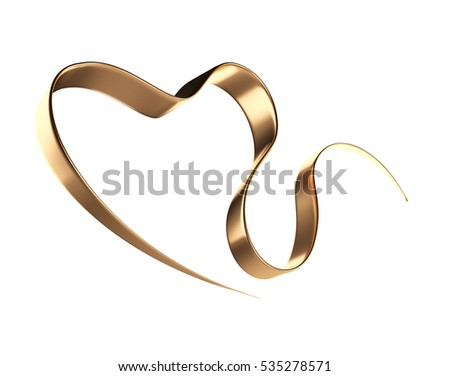 Gold ribbon in a heart shape.  3d illustration isolated on white background.