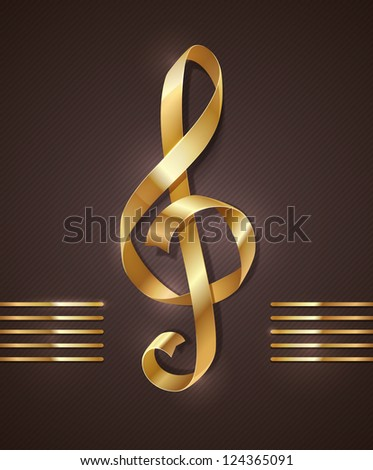 Gold ribbon in the shape of treble clef - illustration - stock photo