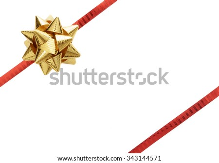 Gold ribbon row with red ribbon isolated on white background - stock photo
