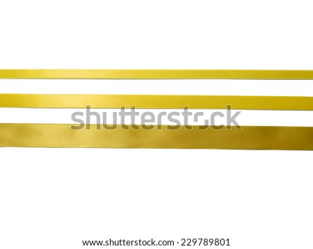 Gold Ribbon Set isolated on White Background - stock photo