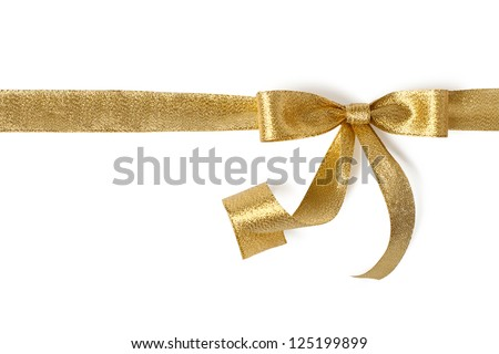 Gold ribbon with bow on white - stock photo