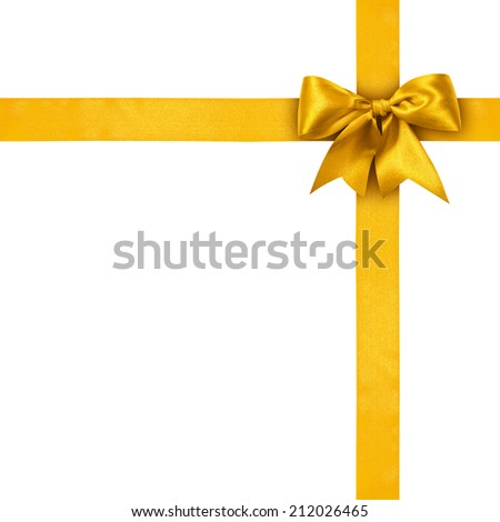 Gold ribbons with bow isolated on white background  - stock photo