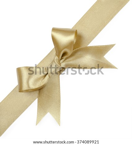 Gold ribbons with bow isolated on white background.