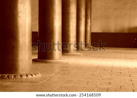 Gold-rimmed nanmu pillar and foundation in the Imperial Ancestral Temple, December 22, 2013, Beijing, China.    - stock photo