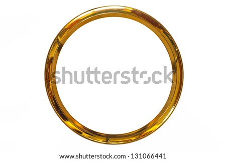 gold ring frame on isolate - stock photo