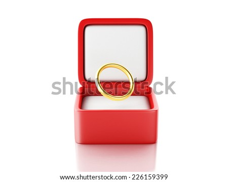 gold ring in a red gift box 3d illustration  - stock photo