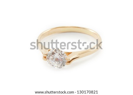 gold ring Isolated on white background - stock photo