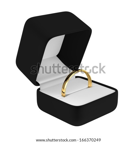 Gold Ring with Black Box - stock photo
