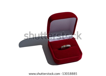 Gold ring with brilliants in red box - stock photo