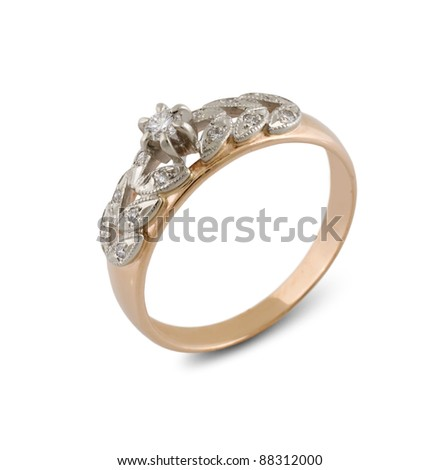 gold ring with diamond isolated on white - stock photo