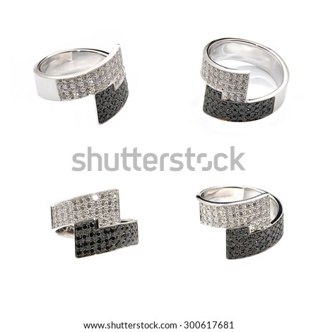 gold ring with diamonds on a white background - stock photo