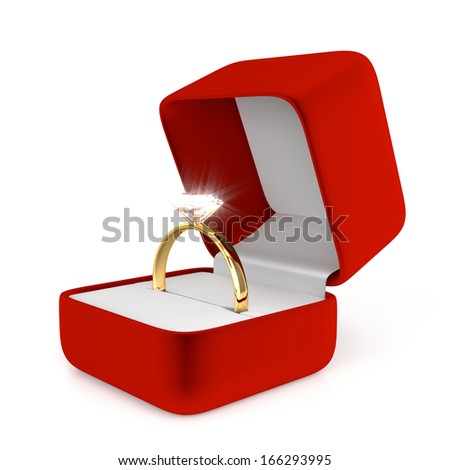 Gold Ring with Red Box - stock photo