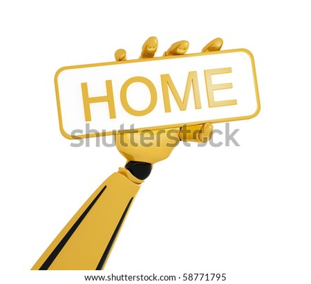 "Gold robotic hand hold a plate with word ""home"". Including clipping path."
