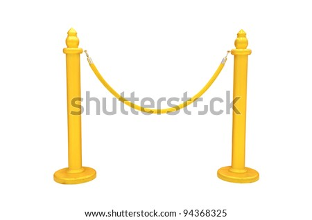 gold rope barrier - stock photo