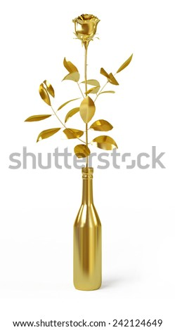Gold rose isolated on white background. - stock photo