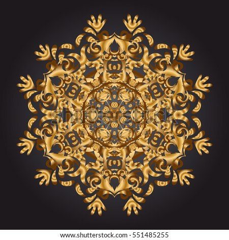 Gold round ornament pattern on a black background. Mandala.