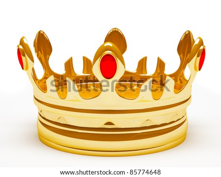 Gold royal crown. 3d illustration. Isolated on white - stock photo