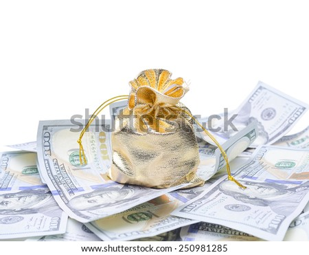 Gold sack and dollars on white background - stock photo