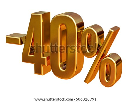 Gold Sale -40%, Gold Percent Off Discount Sign, Sale Banner Template, Special Offer -40% Off Discount Tag, Minus Forty Percent Sticker, Gold Sale Symbol, Gold Sticker, Banner, Advertising, Luxury Sale