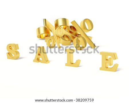 gold sale on white background