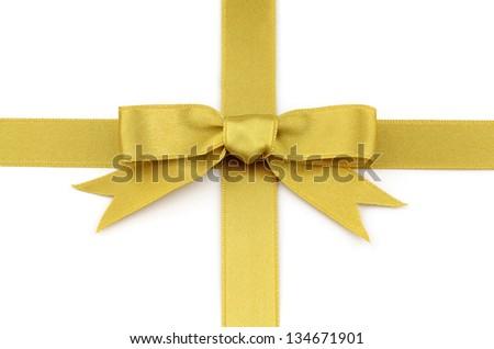 Gold satin ribbon - stock photo