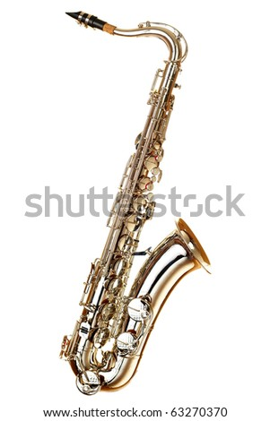 gold saxophone on white background - stock photo