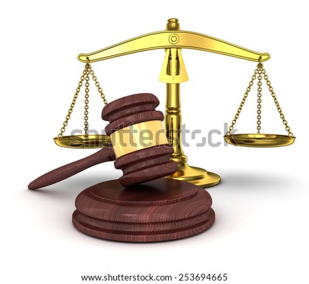 gold scales and gavel (done in 3d) - stock photo