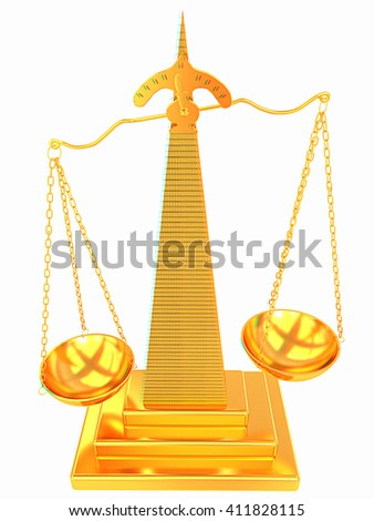Gold scales of justice. 3D illustration. Anaglyph. View with red/cyan glasses to see in 3D. - stock photo