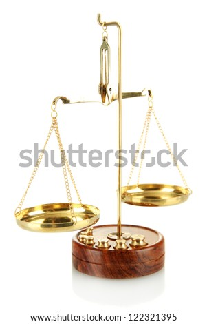 Gold scales of justice isolated on white