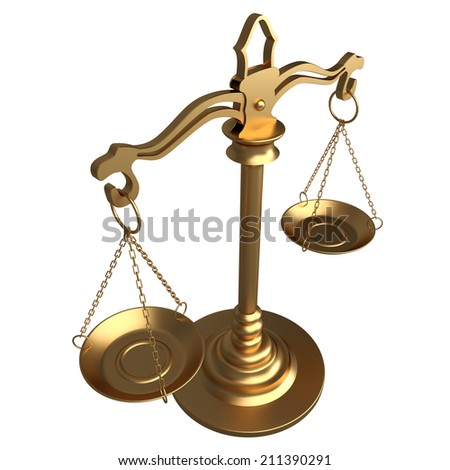 Gold scales of justice. isolated on white background. 3d - stock photo
