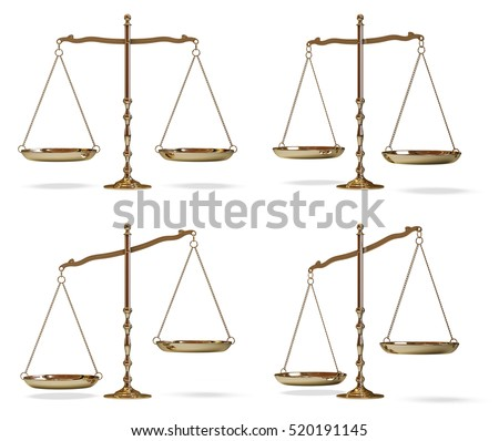 Gold scales of justice isolated on white background 3D illustration.