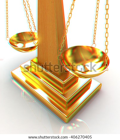 Gold scales on a white background. 3D illustration. Anaglyph. View with red/cyan glasses to see in 3D. - stock photo