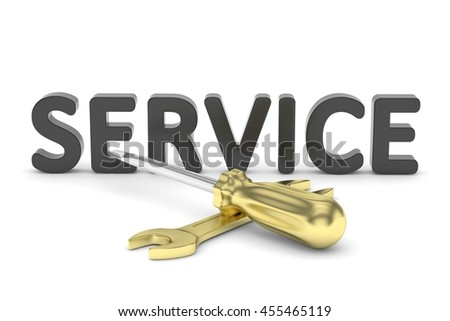 gold screwdriver and wrench tools on white background. service concept. 3D Rendering. - stock photo