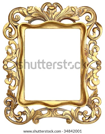 Gold Scroll Picture Frame - stock photo