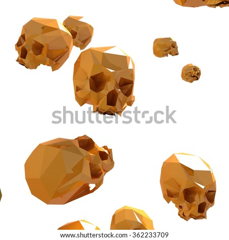 Gold scull isolated white in 3D. Scull  pattern. Illustration for your design. - stock photo