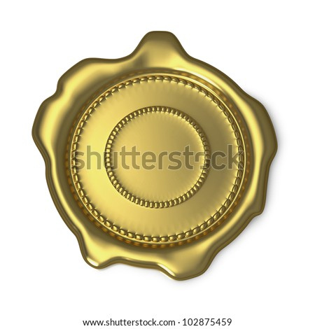 Gold seal of approval on white background - stock photo