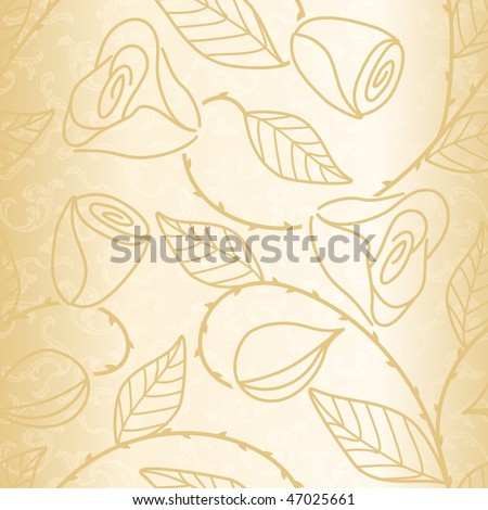 Gold seamless hand drawn pattern with roses (JPG); vector version also available
