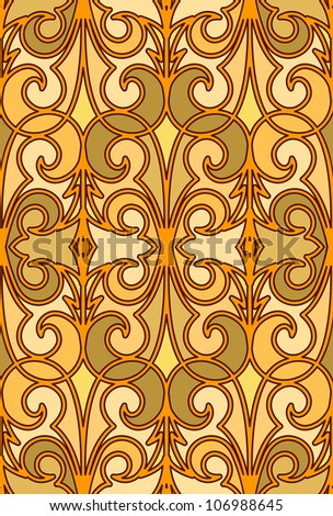 Gold seamless pattern in arabic style. Vector version available in my portfolio - stock photo