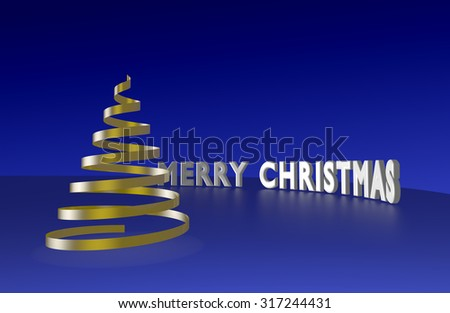 Gold serpentine shaped Christmas tree and Merry Christmas text. - stock photo