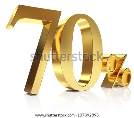 Gold seventy percent discount symbol - stock photo