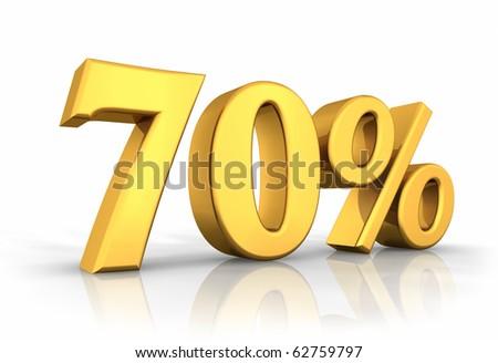 Gold seventy percent, isolated on white background. 70% - stock photo