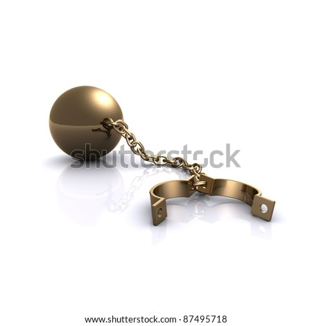 gold shackles - stock photo